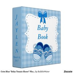 "Cute Blue ""Baby Tennis Shoes"" Photo Album Binders"