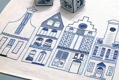 Dutch Canal Houses Embroidered Table Runner by gingerbread_snowflakes