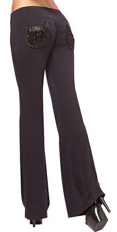 Cute, Black Sequin Pocket Yoga/Lounge Pants