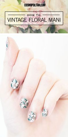 Click through for the tutorial! Chic, vintage-looking floral nails.