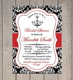 30d50c0bc39 Bridal Shower Printable Invitation - Chandelier