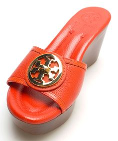 Another great find on #zulily! Tory Burch Flame Red Selma Leather Slide Wedge by Tory Burch #zulilyfinds