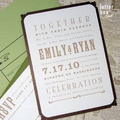 vintage playbill wedding invitation. love the typography.