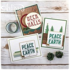 Create some rustic Christmas cards like these with the carols of Christmas stamp set, card front builder framelits, and some staples from the annual catalog!  Get a head start of Christmas!  ~Mindy