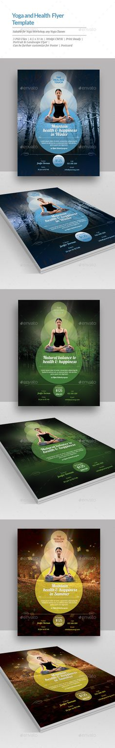 Awesome flyer template for meditation or yoga classes. Very simple to edit.