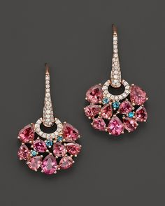 Roberto Coin 18K Rose Gold Fantasia London Blue Topaz and Pink Tourmaline Earrings