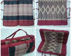 """Mobile Traditional Fold Out Seat Pads Meditation Cushion """"Khit Pillow"""", Organic Kapok From Thailand, Can Transform As Pillow Easy Carry by AtiCraftGadget on Etsy"""