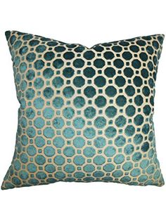 The Pillow Collection Kostya Geometric Pillow, Turquoise ❤ The Pillow Collection