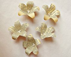 Paper Flowers (25) Paper Flower Lilies made from Upcycled Book Pages for Your Vintage Wedding BookCraft