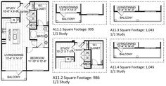 A11 – One Bedroom Apartment / One Bathroom  984 Square Feet