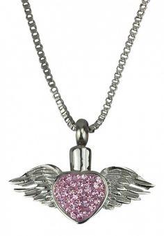 Winged Heart Urn Pendant - Memorial Ash Keepsake - Cremation Jewellery