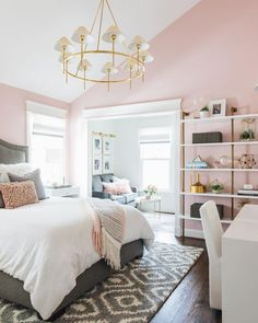 86 Pink And Grey Bedroom Interior Design Ideas 20 Cute Bedroom Ideas, Girl Bedroom Designs, Room Ideas Bedroom, Pretty Bedroom, Girls Pink Bedroom Ideas, Adult Bedroom Ideas, Unique Teen Bedrooms, Modern Teen Room, Young Adult Bedroom