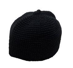 67b6921a948 Al-Ameen AMN001 Muslim Crochet Prayer Hat Kufi Taqiyah Takke Headware Skull  Cap Islam Gift (Black)
