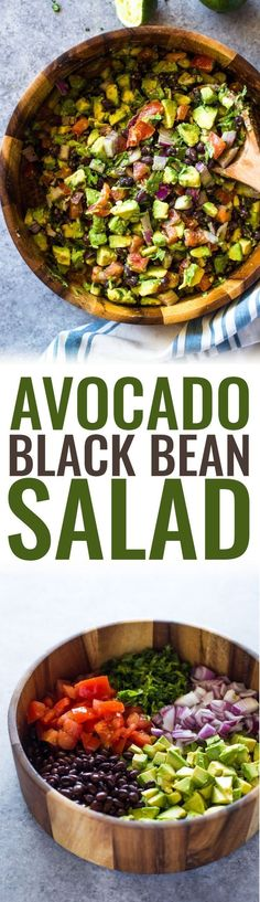 Avocado, black beans, tomato, onion and cilantro dressed with olive oil, garlic and lime making this salad a healthy nutritious choice for a side dish or a filling meal. #ILoveSalads #veganDishes