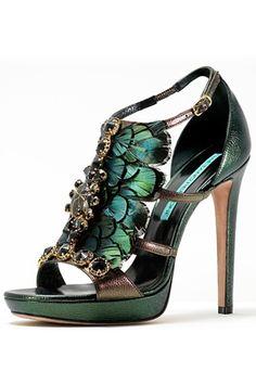Gaetano Perrone green jeweled peacock heels