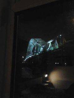 LIT UP WIDNES BRIDGE FROM BELOW
