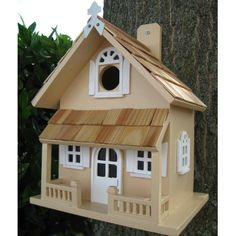 Victorian Bird Houses for $34.95 with Free Shipping! Back mounted Victorian Decorative Bird House with pine shingles and two story design.