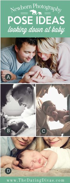 Precious Newborn Photography Pose Ideas Looking Down at Baby