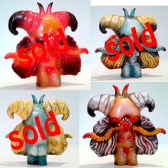 """One-off hand cast resin, painted with Monster Kolor and finished with a glossy clear coat. Comes with a header card. 3"""" tall, available in 8 different colours. Listing for 1 piece."""
