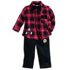 This festive two-piece set features a classic tartan shirt with a charming dickey bow! Complimented by neat black trims along the shirt opening and co-ordinating black bottoms. Tartan Shirt, Plaid, Mickey And Friends, Disney Merchandise, Black Trim, Trousers, Pants, Mickey Mouse, Kids Fashion