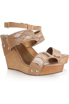 12th Street by Cynthia Vincent Jonah embroidered leather wedge sandals