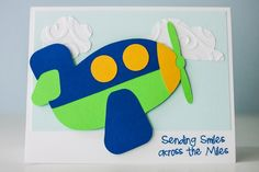 """Airplane card using Cricut cartridge Boys Will be Boys and Pink by Design's stamp set """"Spring Has Sprung"""""""