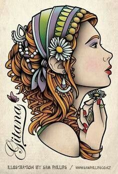 Elegant Gypsy Tattoo Idea - I particularly like her hair and her hand holding the flower