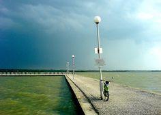 The lake of Velence / Hungary - storm incoming Cn Tower, Hungary, Wind Turbine, Building, Google, Travel, Viajes, Buildings, Destinations