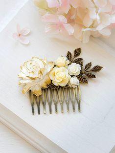 Ivory White Gold Diamante Rose Flower Hair Crown Garland Headband Festival 476