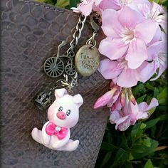 Pink Piggy Crown Bicycle Bagcharm handmade Clay made by Tengoku Yochi. Visit us in Instagram