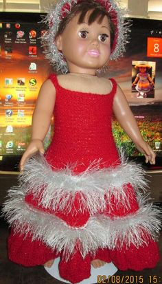 "Ladyfingers - AG Doll - Red ""Holiday"" Long Gown"