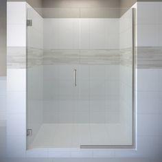 Basco Celesta 57-in to 58-in Brushed Nickel Frameless Pivot Shower Door