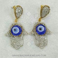 c6244fe6a Customize & Buy Hamsa Hand Of Fatima Bijoux Fashion Dangle Earrings- Evil  Eye Online at Grand Bazaar Jewelers - GBJ3ER138-12