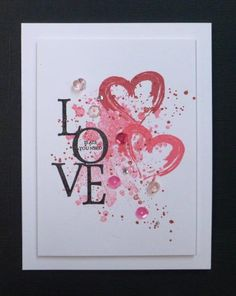 handmade Valentine by hobbydujour ... looks like a piece of modern art ... grungy stamped background include two brush stroke hearts ... LOVE vertical grouping of black die cut letters ... sequins and beads ... luv it!!