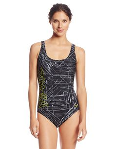 Aqua Zumba by Speedo Women's Trace Me Lace-Up Swimsuit -- Click on the image for additional details.