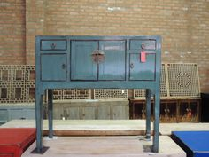 Antique Chinese Console Table in Turquoise Los от ModernRedLA
