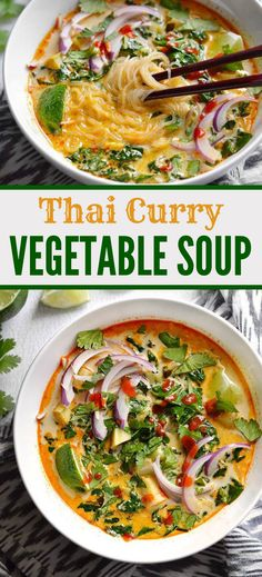 Curry Vegetable Soup - Budget Bytes Thai Curry Vegetable Soup is packed with vegetables, spicy Thai flavor, and creamy coconut milk.Thai Curry Vegetable Soup is packed with vegetables, spicy Thai flavor, and creamy coconut milk. Veggie Recipes, Asian Recipes, Soup Recipes, Dinner Recipes, Cooking Recipes, Healthy Recipes, Delicious Recipes, Tasty, Vegetarian Recipes