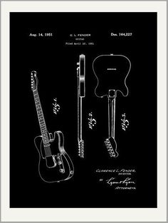 Vintage Fender Guitar Patent Drawing Greeting Card   beautiful quality giclee printed with deep rich color and sharp detail on velvety Crane Museo Card with matching envelope. Made in USA by Museum Outlets #patentdrawing