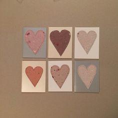 Heart Card Valentine Set (6) - Handmade Paper by deadcatcreations