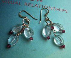 Boho, Cluster Earrings, Aquamarine Earrings via Etsy.