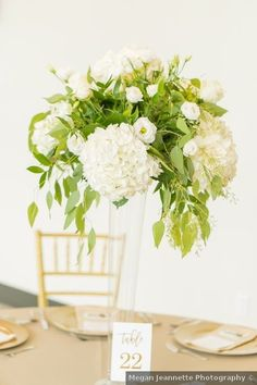 Wedding centerpiece ideas - white, flowers, greenery, glass, table number, gold, indoor, table decor {Megan Jeannette Photography} Centerpiece Ideas, Wedding Centerpieces, Table Decorations, Wedding Themes, Wedding Photos, Glass Table, Table Numbers, White Flowers, Summer Wedding