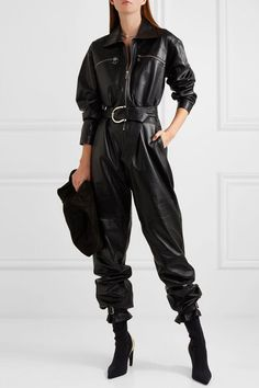 2020 Autumn Locomotive PU Leather Onesie Cool Western Style Black Turn-down Collar Waist Hugging with Belt Harem Pants Women/'s Leather Jumpsuit, Black Jumpsuit, Leather Pants, Pu Leather, Style Outfits, Fashion Outfits, Womens Fashion, Female Fashion, Cute Outfits