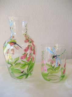 Bedside carafe  hummingbird pattern gift for mom by TivoliGardens, $36.00