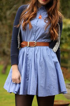 Belted Chambray dress outfit