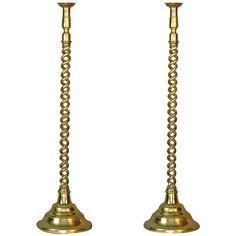 Pair of Tall English Brass Floor Candlesticks