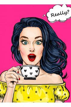 Really - Art Drawings Pop Art Vintage, Art And Illustration, Pop Illustrations, Character Illustration, Watercolor Illustration, Bd Pop Art, Pop Art Girl, Pop Art Face, Pop Art Poster