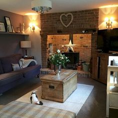 Cosy Cottage Living Room - Beautiful DIY Ideas For Your Fireplace Living Room Decor Country, French Country Living Room, Cottage Living Rooms, Home Living Room, Living Room Designs, Big Country, Country Decor, Country Furniture, Country Lounge
