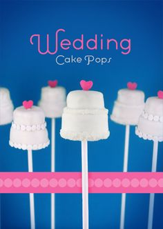 Little White Wedding Cake Pops With Pink Heart Toppers