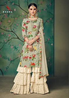 Buy Kajri By kaara Designer party wear look Muslin Cotton digital print with heavy handwork collection single available at wholesale Rates Party Wear Indian Dresses, Pakistani Fashion Party Wear, Dress Indian Style, Pakistani Dress Design, Pakistani Dresses, Indian Outfits, Indian Fashion, Bollywood Fashion, Pakistani Suits