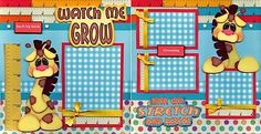 WATCH ME GROW 2 premade scrapbook pages paper piecing layout 4 album BABY cherry